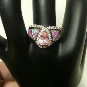 New Fire Opal & Pink Topaz Sterling Ring